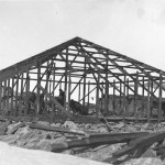 The frame of the Main Hut at Cape Denison completed, about 24 January 1912.