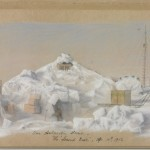 'Our Antarctic Home', The Second Base, April 10th, 1912. Charles Harrisson's drawing of the hut of the Western Party on the Shackleton Ice Shelf, known as 'The Grottoes'.