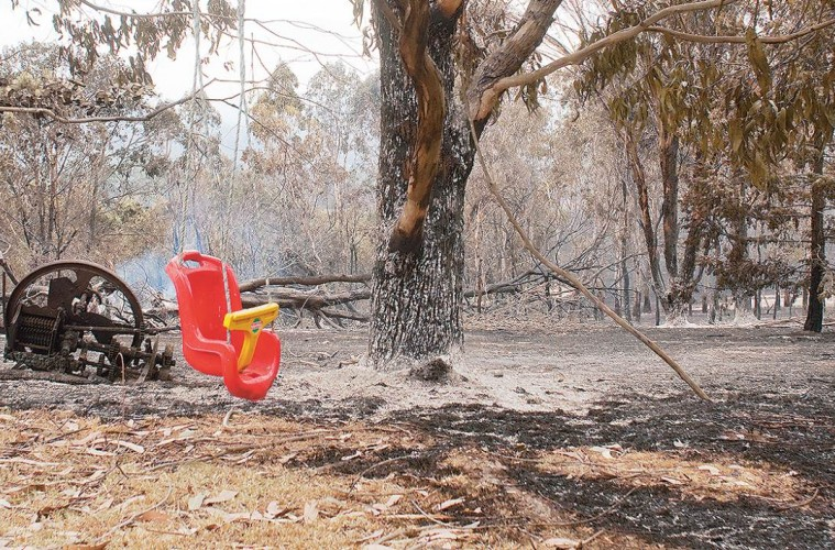 A fire-ravaged scene at Steels Creek from the February 2009 Black Saturday fires