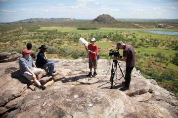 Martin Thomas (far left) during film shoot at Injalak, western Arnhem Land. Photo: Adis Hondo 2010.