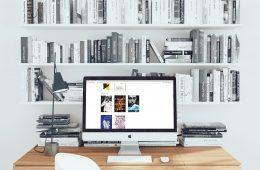 imac and bookshelves