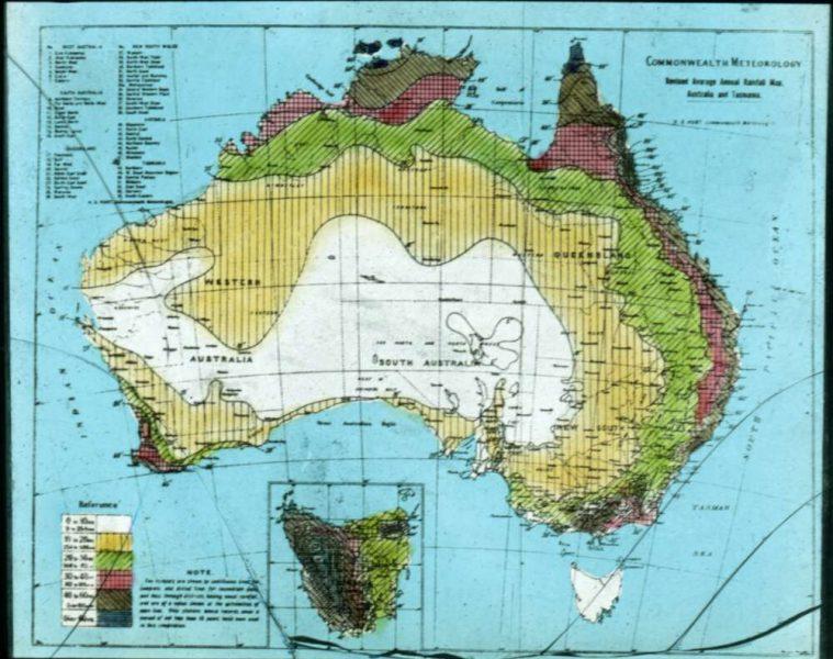 Revised average annual rainfall map, Australia and Tasmania [transparency]